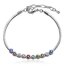 18K White Gold GP Bracelet (Anklet) with Austrian Crystal Beads TI00080