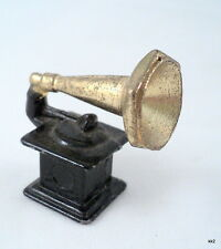"Vtg Toy Miniature Gramophone Phonograph Record Player Cast Metal 1.25"" Dollhouse"