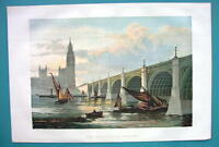 1858 COLOR Litho Print - LONDON New Westminster Bridge Thames River
