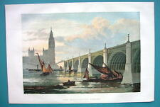 1858 COLOR Litho Print - LONDON New Westminster Bridge Thames River