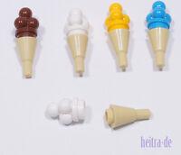 LEGO - 5 x Eis - Waffel mit Eis mit 4 Kugeln in vier Farben / 11610 6254 NEUWARE