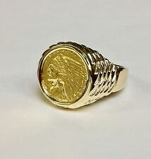 GENUINE INDIAN HEAD 2 1/2 DOLLAR GOLD COIN - 14K Mens RING MOUNTING 12 grams