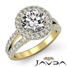 Round Diamond Engagement Halo Split Shank Ring GIA G VS2 18k Yellow Gold 2.9ct