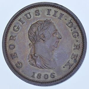 RARE 1806 BRONZED PROOF HALFPENNY, BRITISH COIN FROM GEORGE III aFDC