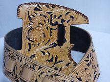 "Leather pickguard/ strap Fender Telecaster hand tooled leather ""Floral Riffs"""