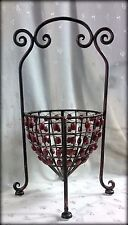 """Nwt Open Metal Basket Covered in Rusty Red Wooden Beads - 18""""T x 10.5 Diam."""