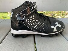 Under Armour Football Baseball Mens Black & White High Top Strapped Cleats Sz 7