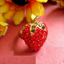 R247 Betsey Johnson Crystal Rhinestone Gem Strawberry Tutti Frutti Fruit Ring US