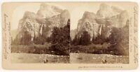 USA Bridal Veil Falls Yosemite Valley Foto Stereo PL55L6n Vintage Albumina