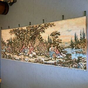 """Vtg Victorian TAPESTRY 76"""" x 27-1/2"""" Wall Hanging Loop Curtain Tabs Romance Love"""