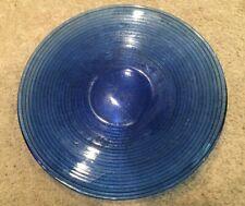 Cobalt Blue Modern Contemporary Blue Round Glass Serving Platter Tray