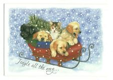 LABRADOR DOGS & CAT IN SLED Christmas Greeting Card w/ Envelope New MG3