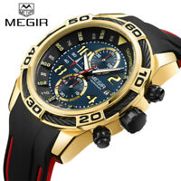 MEGIR Men Casual Sports Quartz Watch Chronograph Silicone Waterproof Wristwatch