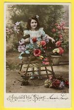 cpa Jeune Fille BROUETTE de FLEURS GIRL SAINTE MARIE LOUISE Flower Wheelbarrow