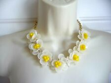 Talbots Necklace NWT $79 Statement White Flowers with Yellow Middles Cluster