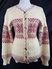 ICELANDIC BY GE-KA M 100% Pure Wool Fuzzy Sweater Cardigan long