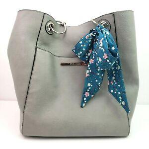 Steve Madden Gray Floral Inside Tote Shoulder Handbag Purse
