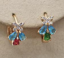 18K Gold Filled - Butterfly Sapphire Zircon Waterdrop Wedding Hoop Lady Earrings