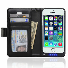 Navor iPhone 5 Wallet Leather Protective Travel Battery Case 2200mAh - Black