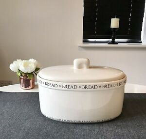 Mason Cash White Vintage Style Oval Shape Ceramic Bread Bin With Lid