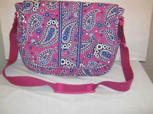 Vera Bradley Boysenberry MESSENGER School Travel Crossbody Bag 11.5 x 14 x 4 EUC