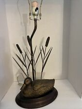 Mallard Duck Decoy with Accented Bronze Patina Finish Cattails Table Lamp