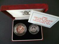 ROYAL MINT 1990 SILVER PROOF 5P TWO COIN SET CASED WITH LEAFLET LARGE AND SMALL