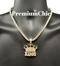 ICED Crowned King Pendant Necklace with Rope or Tennis Chain Men Hip Hop Jewelry
