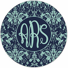 Monogrammed Mouse Pad - Blue Damask Personalized Gift Monogram