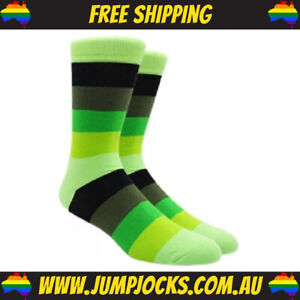 Lime Green/Black Striped Dress Socks - Business, Colourful **FREE SHIPPING**