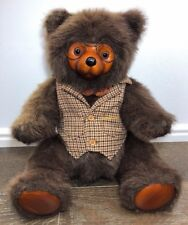 Vintage Robert Raikes Wood Face Collectible Teddy Bear