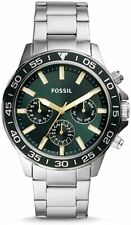NWT Fossil Mens BQ2492 Bannon Multifunction Green Dial Stainless Steel Watch