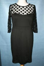 BNWT SIZE 16 M&CO BLACK STRETCHY DRESS WITH SHEER DOTTY TOP SECTION    C442