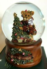 Boyds Bears And Friends Musical Snow Globe Elliot And The Tree Retired Handmade