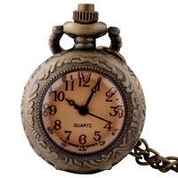 Antique Steampunk Pocket Watch Bronze Vintage Quartz Pendant Necklace Retro Gift