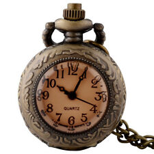 Antique Steampunk Pocket Watch Bronze Vintage Quartz Pendant Necklace Retro Gift