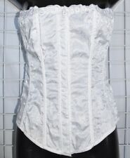 Dreamgirl  White Corset 38 Satin Embroidered Trim Clasp front Cinch back Bridal