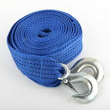 "Blue 2"" x 20'  Polyester Tow Strap Rope (6500 Ibs Strength) Heavy Duty with Hook"