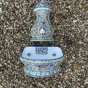 Hand painted Handmade Ceramic Fountain Element & Basin Sink Wall Mounted