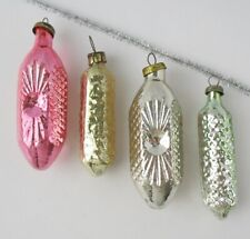 Set 4 Icicle Ice Vintage Xmas Decor Christmas Russian Glass Gold Ornament Ussr