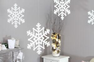 XL Schneeflocken Set 29 cm Eiskristall Weiß Glitter Weihnachtsdeko Deko XMAS