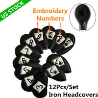 Golf Iron Covers Headcover 12 Pcs Embroidery Numbers For Left Right Handed LH RH