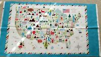 """1 Colorful """"Coast To Coast"""" Cotton Fabric Quilting/Wallhanging Panel"""