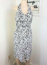 Ab Studio Dress Womens Size 10 Black White Polka Circle Halter Summer Sundress