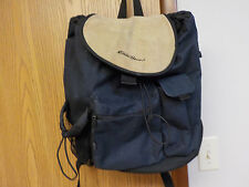 EDDIE BAUER Navy Blue Canvas Backpack Suede Leather Flap Nylon Lining Padded