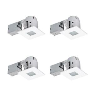 Globe Electric 4' Square Matte White Recessed Bathroom Kit w Frosted Glass 4-pck