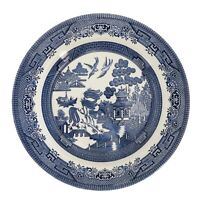 4 Churchill Blue Willow Dinner Plates
