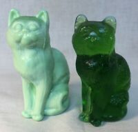 Mosser Art Glass #101 Cat Set Of Two Mint Green And Green  Discontinued Item