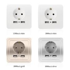 Eu Wall Socket Dual Usb Port Charger Adapter Phone Charging Outlet Switch Panel