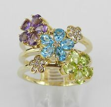 Yellow Gold Multi Color Gemstone Diamond Flower Cluster Ring Size 7